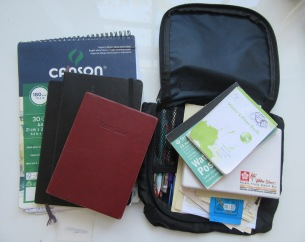 My sketching, writing, watercolor, and all-around creative making travel tool kit.